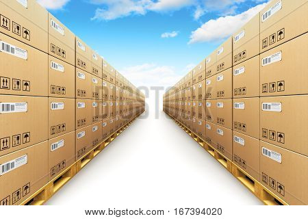 3D render illustration of the storage warehouse with row of stacked cardboard boxes with packed goods on wooden shipping pallets isolated on white background with blue sky and clouds
