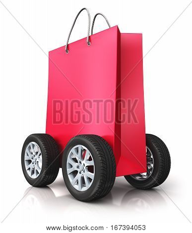 3D render illustration of red paper shopping bag with car wheels isolated on white background with reflection effect