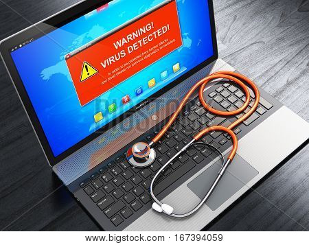 3D render illustration of modern black glossy metal office laptop or notebook with virus alert attack warning message on screen display and medical stethoscope on black wooden table