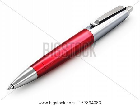 3D render illustration of metal stainless steel red luxury ballpoint pen isolated on white background