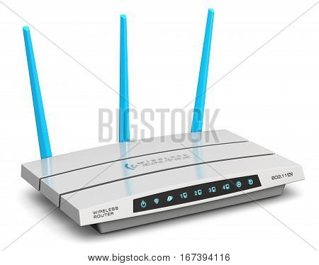 3D render illustration of modern white broadband internet router switch network modem isolated on white background