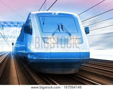 Scenic winter view of modern high speed passenger commuter train on tracks with snow and mountains with motion blur effect