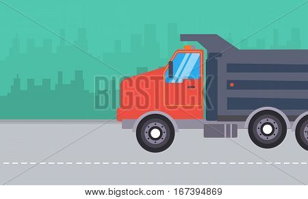 Illustration of dump truck landscape collection stock