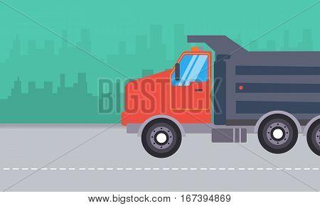 Illustration of dump truck landscape collection stock