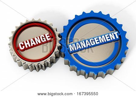 Change management gears isolated on white background. 3D illustration.