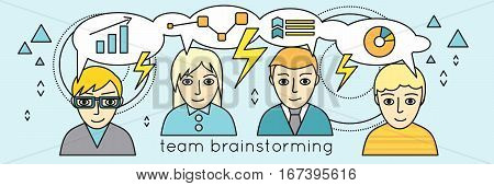 Team brainstorming vector. Flat style. Peoples faces with thinking cloud and economic symbols. Collective brain and making decisions concept. Business planning, creative process, marketing research.