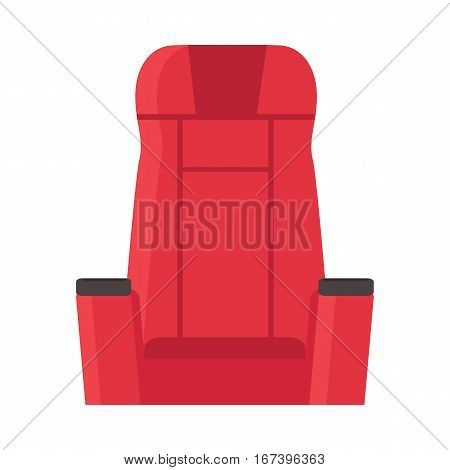 Cinema red velvet chair isolated on white. Armchair in flat style design. Movie tool concept. Cinema icon chair product vector illustration. Web movie entertainment. Opera theatre seat. Seating place