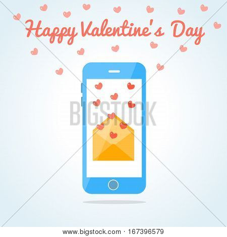 Smartphone with an open love sms or email. Valentine s day card. Fluttering hearts. Flat design. Vector illustration.