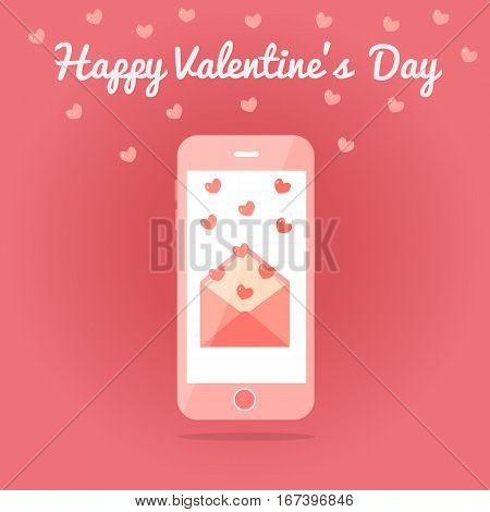Smartphone with an open love sms or email. Valentine s day card. Fluttering hearts. Pink colors. Flat design. Vector illustration.