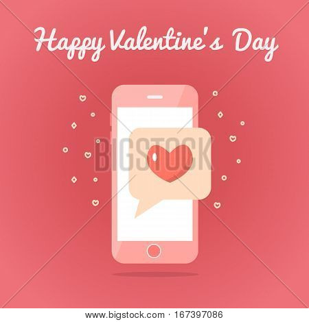 Smartphone with sealed love sms. Valentine s day card. Flat design. Pink colors. Vector illustration.