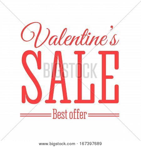 Valentines day sale offer, banner template. Vector illustration in red colour with lettering on white background. Valentines Sale text. Shop market poster design.