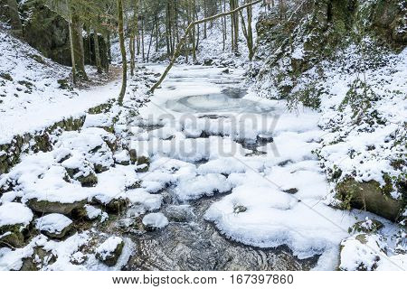 The mountain river in canyon  in Baden-Baden. Europe, Germany