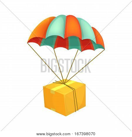 Package flying on parachute. Air shipping. Box vector icon. Delivery service concept. Cartoon style vector illustration