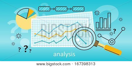 Magnifier with colour diagram on squared paper. Concept of online business, commerce statistics, business analysis, information search. Business blue background with different elements