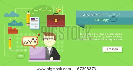 Business strategy web banner. Performance analysis .Search for solutions. Person working at laptop, businessman presenting development and financial planning. Creating plan, generating report. Vector