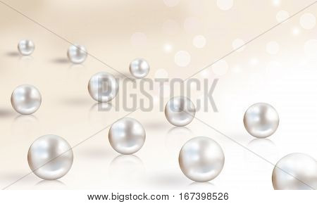 Pearl wedding background with small and big white pearls isolated on cream bright lights background