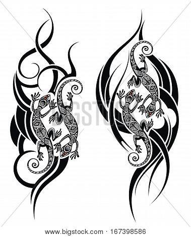 Lizard tattoo. Vector tattoo lizard symbols for your design