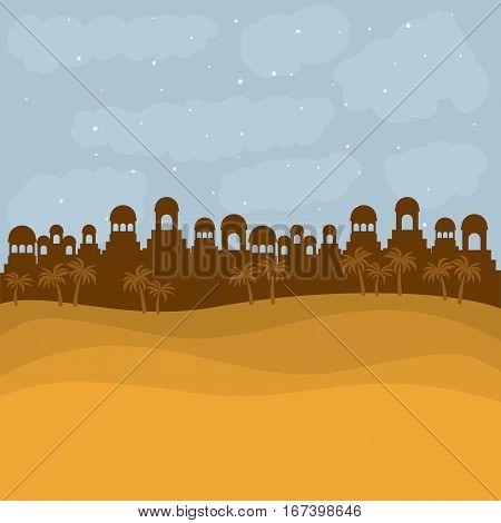 color background in sunset desert of bethlehem vector illustration
