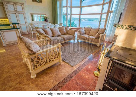 Living Room in Luxurious New Home. A large window in the room