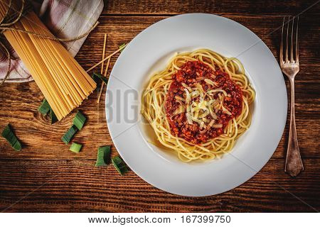 Italian spaghetti bolognese with tomato sauce and meat