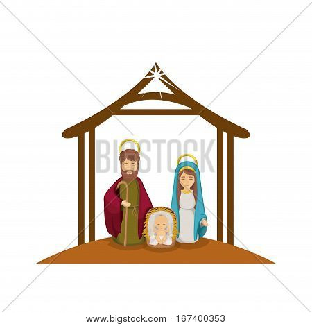 colorful image with virgin mary and saint joseph and jesus in crib under manger vector illustration