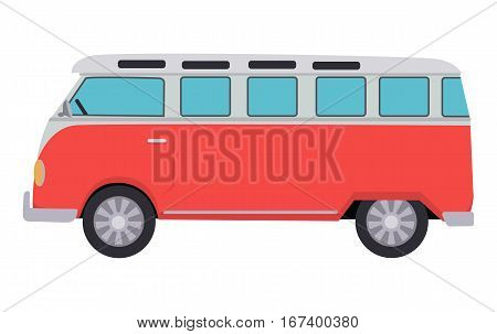 Retro travel red van icon. Surfer van. Vintage travel car. Old classic camper minivan. Retro hippie bus. Vector illustration in flat design isolated on white background.