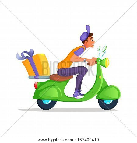 Delivery Boy Ride Scooter Motorcycle Service, Order, Worldwide Shipping, Fast and Free Transport. Cartoon vector illustration.
