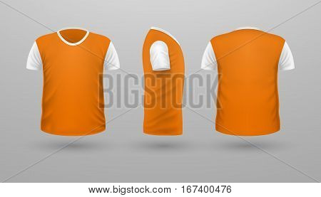T-shirt with white sleeve template set, front, side, back view. Orange color. Realistic vector illustration in flat. Sport clothing. Casual men wear. Cotton unisex polo outfit. Fashionable apparel.