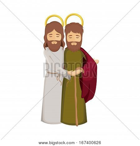 colorful image with saint joseph and jesus embraced vector illustration