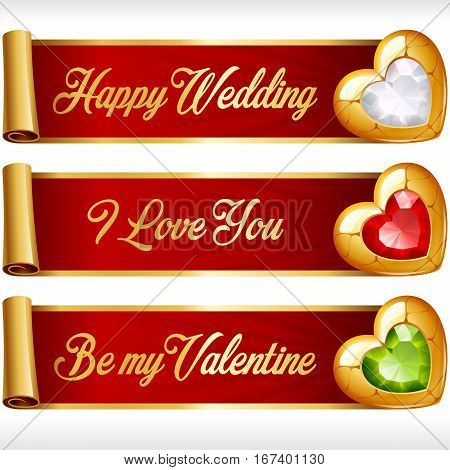 Golden Gem Hearts and Red Ribbons horizontal Banners set. Valentines Day, Wedding celebration or Romantic Lovely Frames Design isolated on white background. Vector Illustration