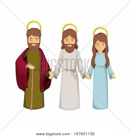 colorful image with jesus and virgin mary and saint joseph holding hands vector illustration