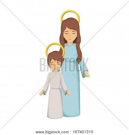 colorful image with virgin mary and jesus boy vector illustration