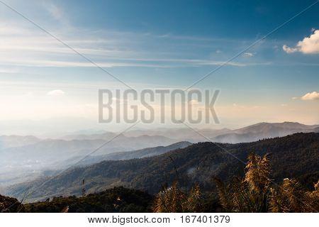 Beautiful landscape mountain and sky natural at Khun Chang Khian Chiang Mai Thailand