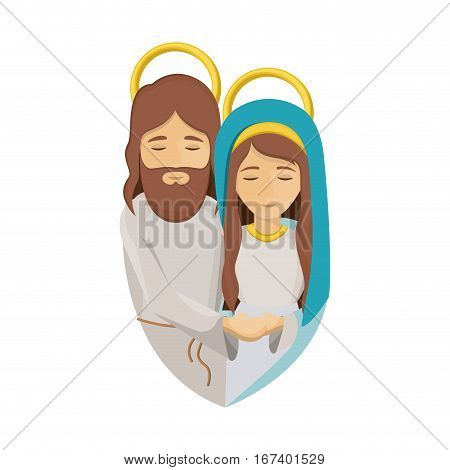 colorful image with half body of virgin mary and jesus embraced vector illustration