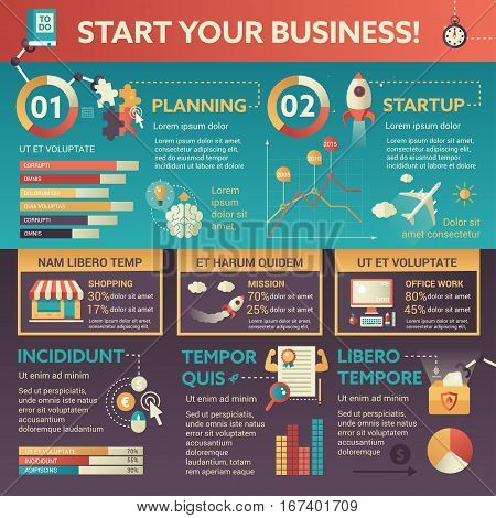 Stat Your Business - info poster, brochure cover template layout with flat design icons, other infographic elements and filler text