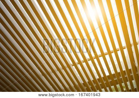 close up lath roof texture and sunlight