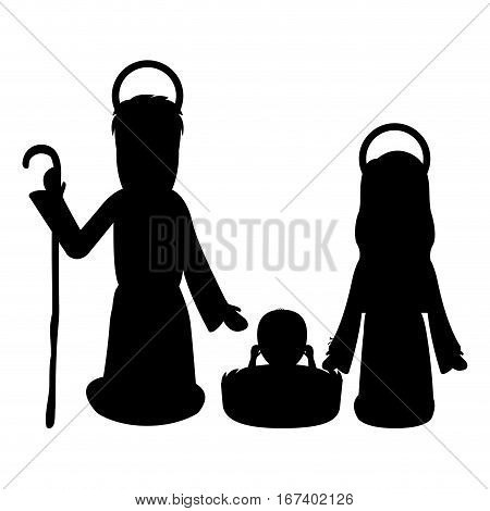 monochrome silhouette with virgin mary and saint joseph and jesus in crib vector illustration