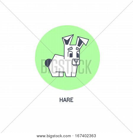 Geometric hare line art vector icon isolated on white