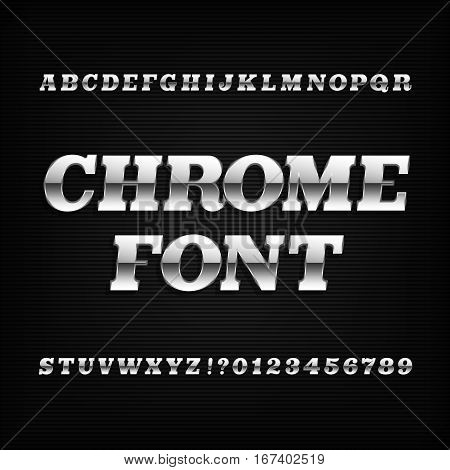 Chrome alphabet font. Metallic effect slab serif oblique letters and numbers on a dark background. Stock vector typography for your design.
