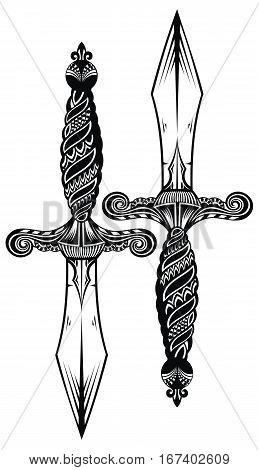 Ornate swords. Tattoo sword for your design