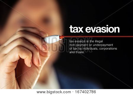 Tax evasion definition illegal non-payment or underpayment of tax by individuals corporations and trusts