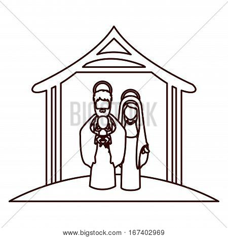 monochrome contour with virgin mary and saint joseph with baby in arms under manger vector illustration