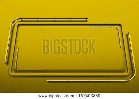 Rectangular Brushed Metal Plate With Corner From Tubes