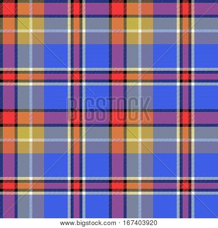 Blue colors check fabric texture seamless pattern. Vector illustration.