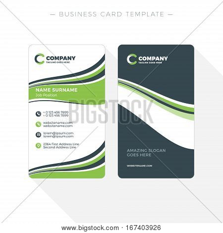 Vertical Double-sided Business Card Template With Abstract Green And Black Waves Background. Vector