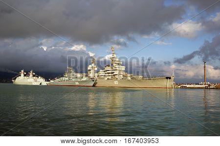 NOVOROSSIYSK, RUSSIA, MAY 9, 2015. Artillery cruiser