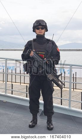 NOVOROSSIYSK, RUSSIA, MAY 9, 2015:Soldiers the marine of China navy protects the frigate