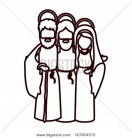 monochrome contour with jesus embraced to virgin mary and saint joseph vector illustration
