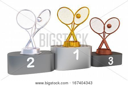 3D illustration of Tennis Podium with Gold Silver and Bronze Trophy with white background