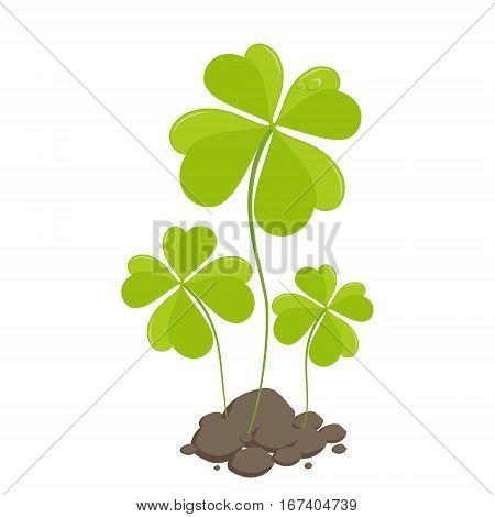 Clover quatrefoil St Patricks Day. Vector illustration.